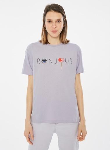 Loves You Bonjour Baskılı Kalpli T-Shirt Lila